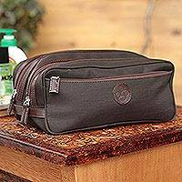 Men's leather accent cotton blend travel case, 'Andean Brown'