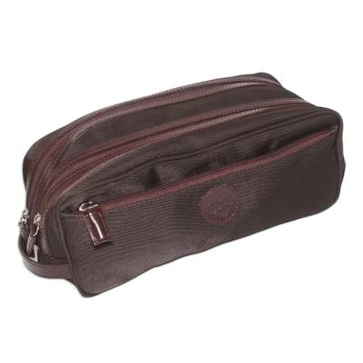 Men's leather accent cotton blend travel case, 'Andean Brown' - Fair Trade Men's Travel Toiletry Bag from Peru