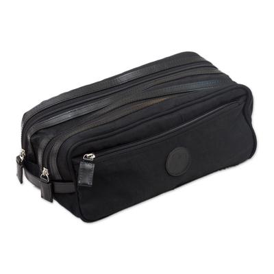 Men's travel case, 'Andean Black' - Handcrafted Men's Toiletries Travel Bag