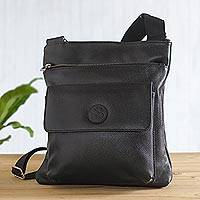 Leather messenger bag, 'Colca Traveler' - Handmade Peruvian Leather Womens Black Leather Messenger Bag
