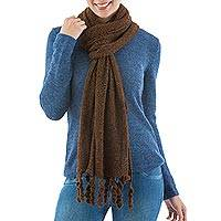 Alpaca blend scarf, 'Cinnamon Temptation' - Artisan Crafted Alpaca Wool Solid Scarf