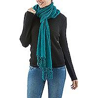 Alpaca blend scarf, 'Emerald Temptation'