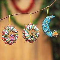 Cotton blend ornaments, 'Andean Feast' (set of 6)