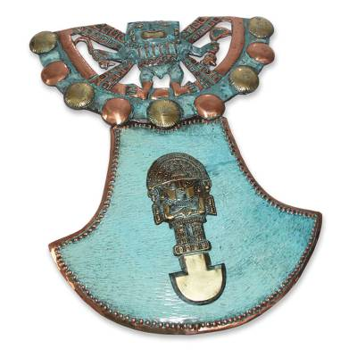 Bronze and copper wall sculpture, 'Sacred Tumi' - Archaeological Bronze Copper Wall Art