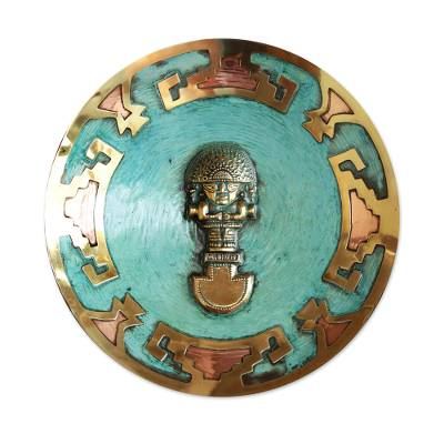 Copper and bronze plate, 'Ceremonial Tumi' - Copper and bronze plate