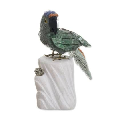 Gemstone sculpture, 'Aqua Macaw' - Handcrafted Gemstone Bird Sculpture from Peru