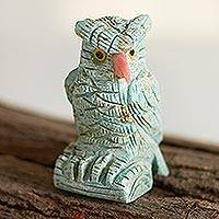 Gemstone sculpture, 'Mystic Owl' - Handcrafted Turquoise Owl Gemstone Sculpture