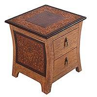 Tornillo wood and leather nightstand, 'Colonial Floral Night'