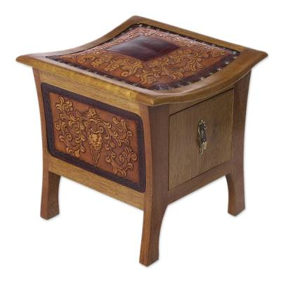 Tornillo wood and leather accent table, 'Colonial Floral Rhythm' - Tornillo wood and leather accent table,Colonial Floral Rhy