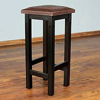 Mohena and leather bar stool, 'Colonial Empress' - Leather Bar Stool of Tooled Mohena Handmade in Peru