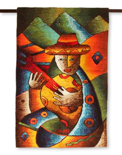 Alpaca blend tapestry, 'Love Serenade' - Alpaca blend tapestry