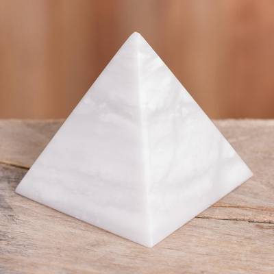 Onyx pyramid, 'Protection' - White Onyx Gemstone Pyramid Sculpture from Peru