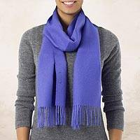 100% alpaca scarf, 'Lily Valley' - Handmade Alpaca Wool Solid Scarf from Peru