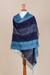 100% alpaca shawl, 'Huancayo Blues' - Alpaca Wool Patterned Shawl (image 2c) thumbail