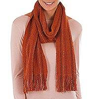 Pima cotton scarf, 'Delightful Brown' - Brown Pima Cotton Scarf