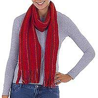 Pima cotton scarf, 'Delightful Red' - Red Pima Cotton Scarf