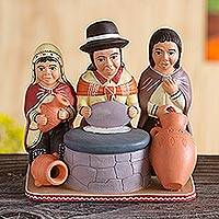 Ceramic figurine, 'Baking Bread in the Andes' - Fair Trade Ceramic Sculpture