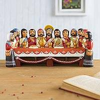 Ceramic figurine, 'The Last Supper' - Collectible Religious 12 Apostles and Jesus Sculpture