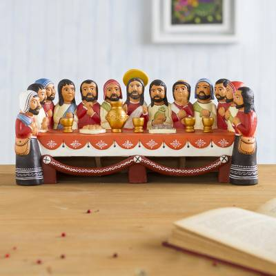 Ceramic sculpture, 'The Last Supper' - Collectible Religious 12 Apostles and Jesus Sculpture