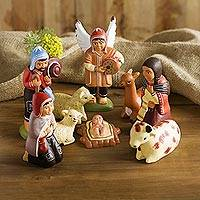 Ceramic nativity scene, 'Andean Christmas Joy' (9 pieces) - Ceramic nativity scene (9 Pieces)