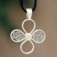 Sterling silver pendant necklace, 'Prairie Flower'