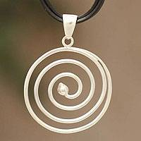 Sterling silver and leather pendant necklace, 'Andean Whirlwind'