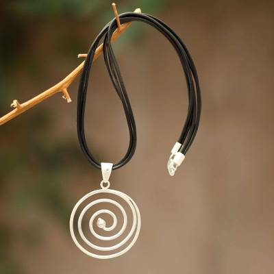 Sterling silver and leather pendant necklace, 'Andean Whirlwind' - Modern Leather and Sterling Silver Pendant Necklace