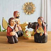 Ceramic nativity scene, 'Andean Soul' (6 pieces) - Handcrafted Nativity Scene Sculpture (6 Pieces)