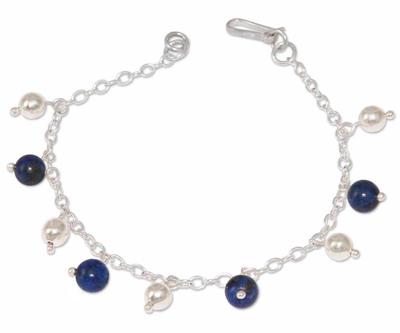 Lapis Lazuli And 925 Sterling Silver Charm Bracelet