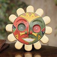 Ceramic mask, 'Rising Sun' - Unique Inca Ceramic Mask