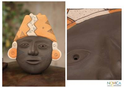 Ceramic mask, 'Proud Inca' - Unique Inca Ceramic Mask