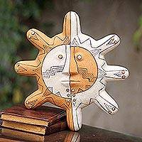 Ceramic mask, 'Nazca Sun' - Handcrafted Nazca Style Ceramic Mask from Peru