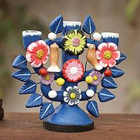 Ceramic candleholder, 'Songs in Blue' - Ceramic candleholder