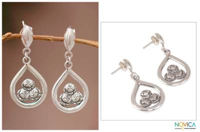 Sterling silver dangle earrings, Three Roses