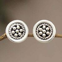 Sterling silver button earrings, 'Andean Dewdrops' - Handmade Floral Sterling Silver Button Earrings