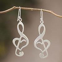 Sterling silver dangle earrings, 'Song of Love' - Handcrafted Heart Shaped Sterling Silver Dangle Earrings