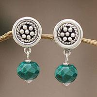 Chrysocolla dangle earrings, 'Andean Dewdrops' - Chrysocolla dangle earrings