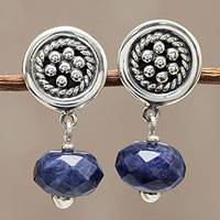 Sodalite dangle earrings, 'Andean Dewdrops' - Floral Sterling Silver and Blue Sodalite Earrings from Peru