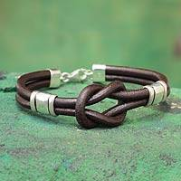 Leather wristband bracelet, 'Twin Brown Knots' - Unique Knotted Brown Leather and Sterling Silver Bracelet