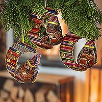 Gourd and cotton blend ornaments, 'Happy Hoots' (set of 3)
