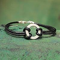 Men's leather wristband bracelet, 'Harvest Moon' - Sterling Silver Leather Wristband Men's Bracelet