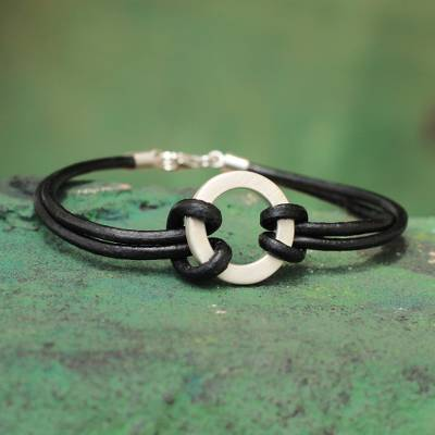 Men's leather wristband bracelet, 'Harvest Moon' - Sterling Silver Leather Wristband Men's Bracelet