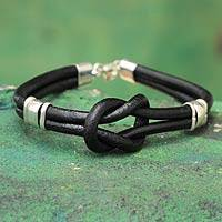 Leather wristband bracelet, 'Twin Black Knots' - Leather Wristband Bracelet 925 Sterling Silver
