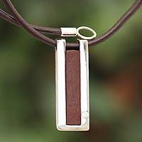 Leather pendant necklace, 'Brown Quechua Minimalist' - Modern Sterling Silver and Leather Pendant Necklace