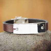 Men's leather bracelet, 'Eternal Aymara' - Men's Silver and Leather Bracelet