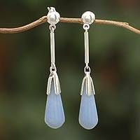 Anhydrite dangle earrings, 'Heavenly Blue' - Peruvian Sterling Silver and Anhydrite Dangle Earrings