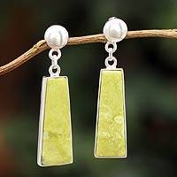 Serpentine dangle earrings, 'Path of Peace' - Serpentine dangle earrings
