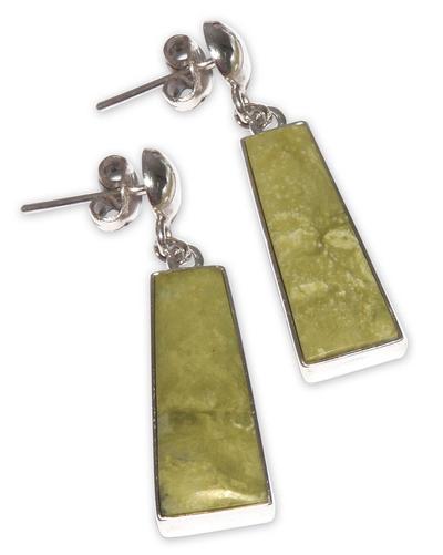 Serpentine dangle earrings, 'Path of Peace' - Serpentine dangle earrings