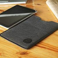 Leather accent cotton tablet sleeve, 'Chiclayo on the Go'