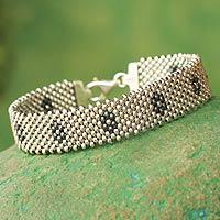Sterling silver wristband bracelet, 'Blossom'